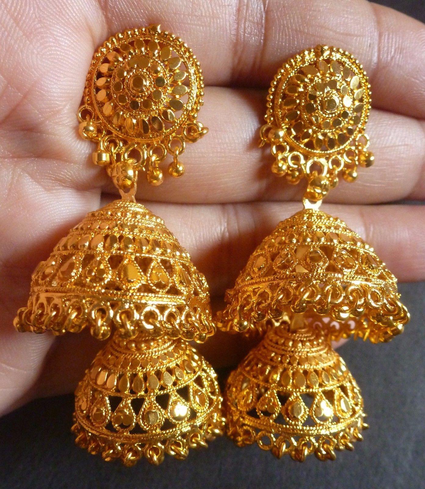 633dbfb53 22K Gold Plated 5 Cm Long 2 Steps Indian Wedding Ball Bead Jhumka Earrings  Set