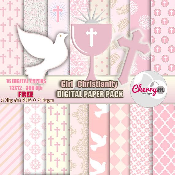 Girl First Communion, Baptism Digital Papers, Free Clip ...