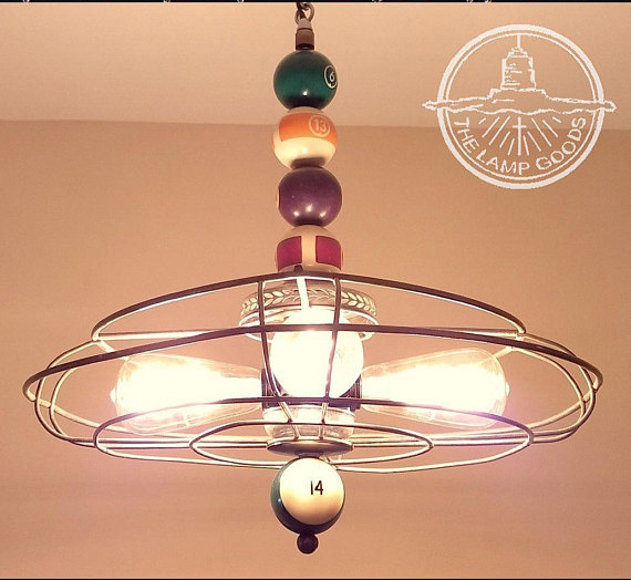 billiard sports game room light fixture with antique pool balls rh in pinterest com