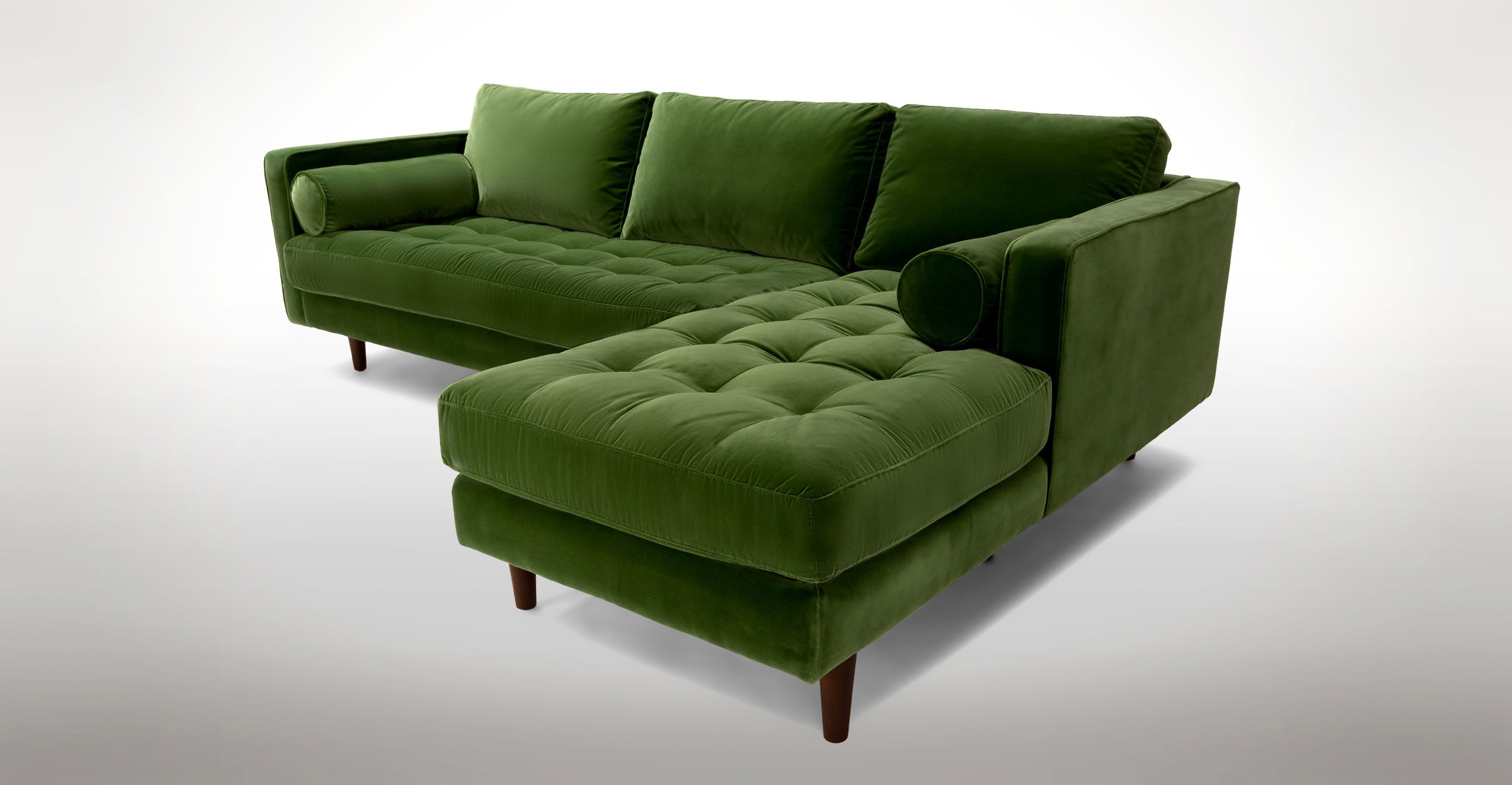 Green Velvet Right Sectional Tufted