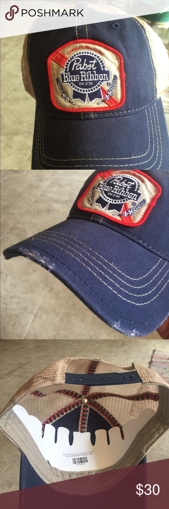 18c69069647 Retro Brand Distressed Pabst Blue Ribbon Hat Distressed Pabst Blue Ribbon  Hat by Retro Brand- Brand New ships straight from boutique Original Retro  Brand ...