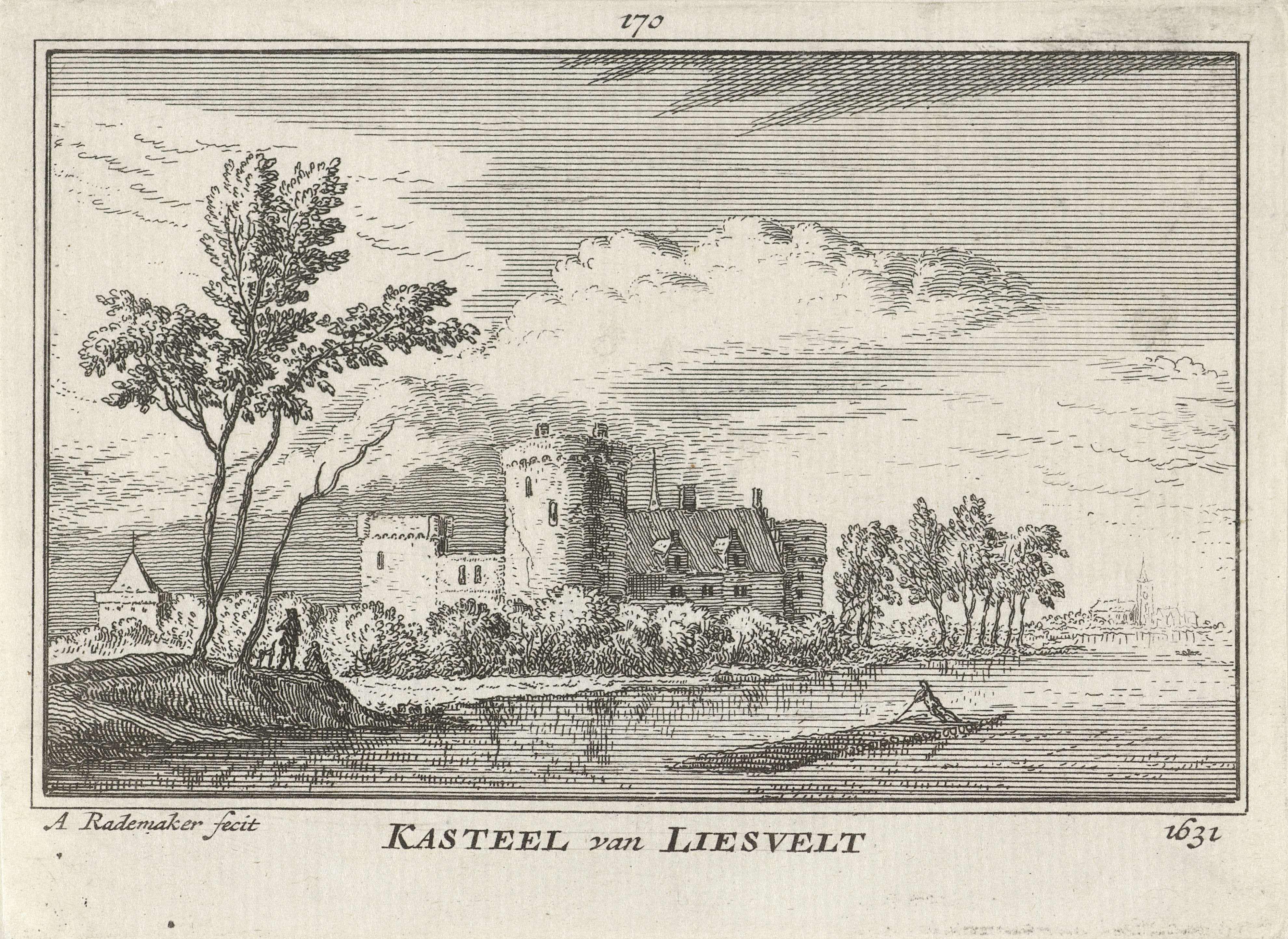 Abraham Rademaker | Kasteel Liesveld, Abraham Rademaker, Willem Barents, Antoni Schoonenburg, 1727 - 1733 | Gezicht vanaf de rivier de Lek op Kasteel Liesveld bij Groot-Ammers in de Alblasserwaard, in de situatie omstreeks 1631.