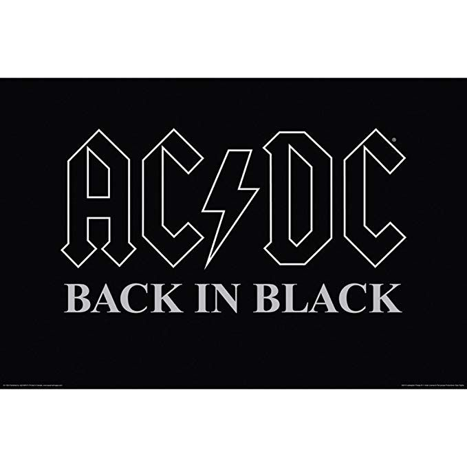 Ac Dc Back In Black Poster 36 X 24in K Dorm Black Walls Back