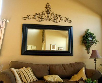 How to decorate a tall wall large wall decor images with for Mirror wall decoration ideas living room
