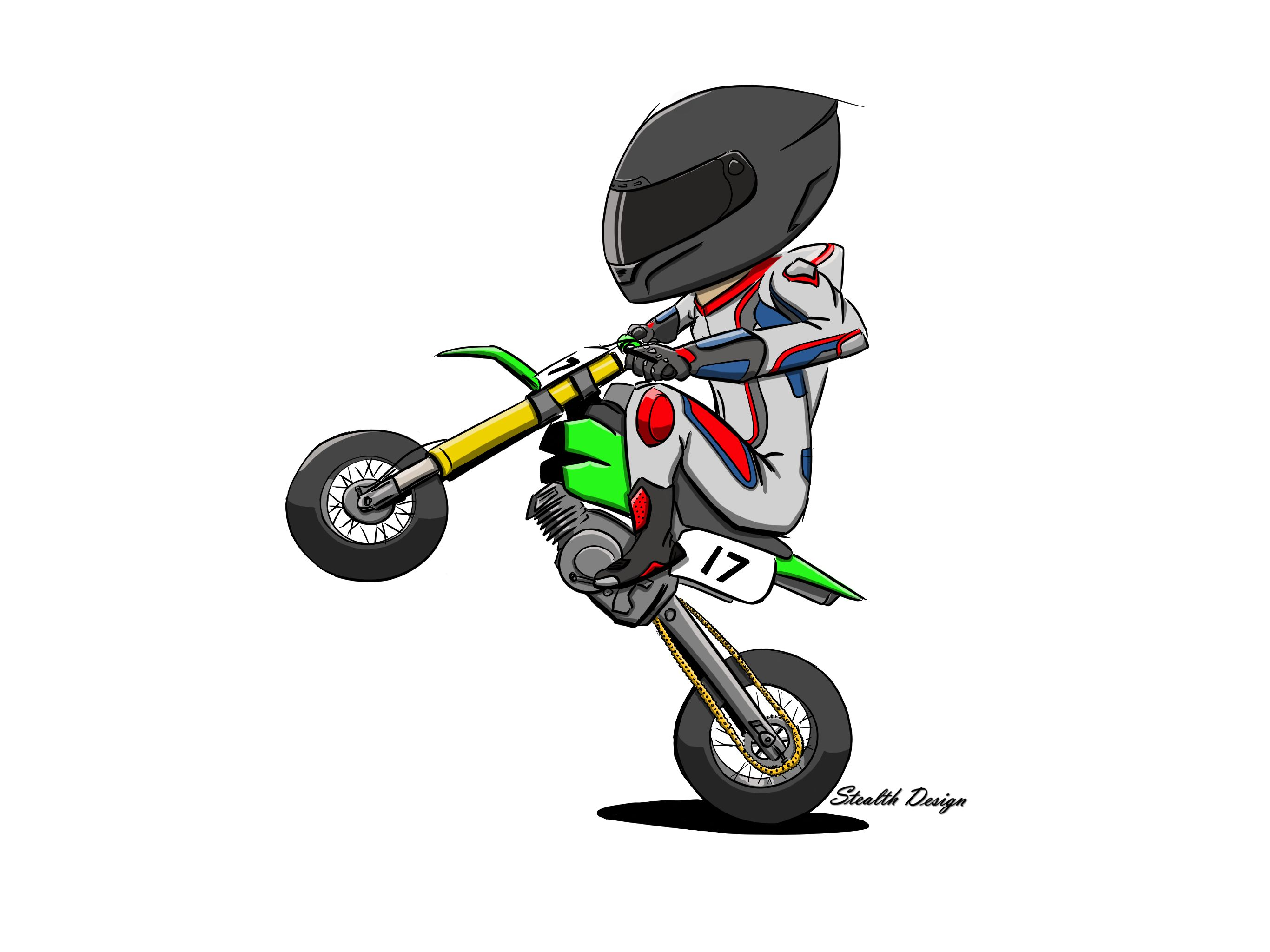 Super Moto Wheelie Cartoon Stationary Bike Bike Cartoon