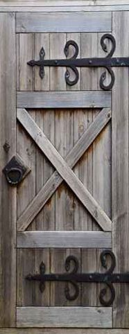 Door STICKER Barn Doors Wooden Mural Poster By Pulaton