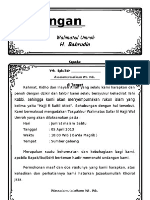 Udnagan Walimatul Umroh Microsoft Word 2010 Ms Word Microsoft Word 2007