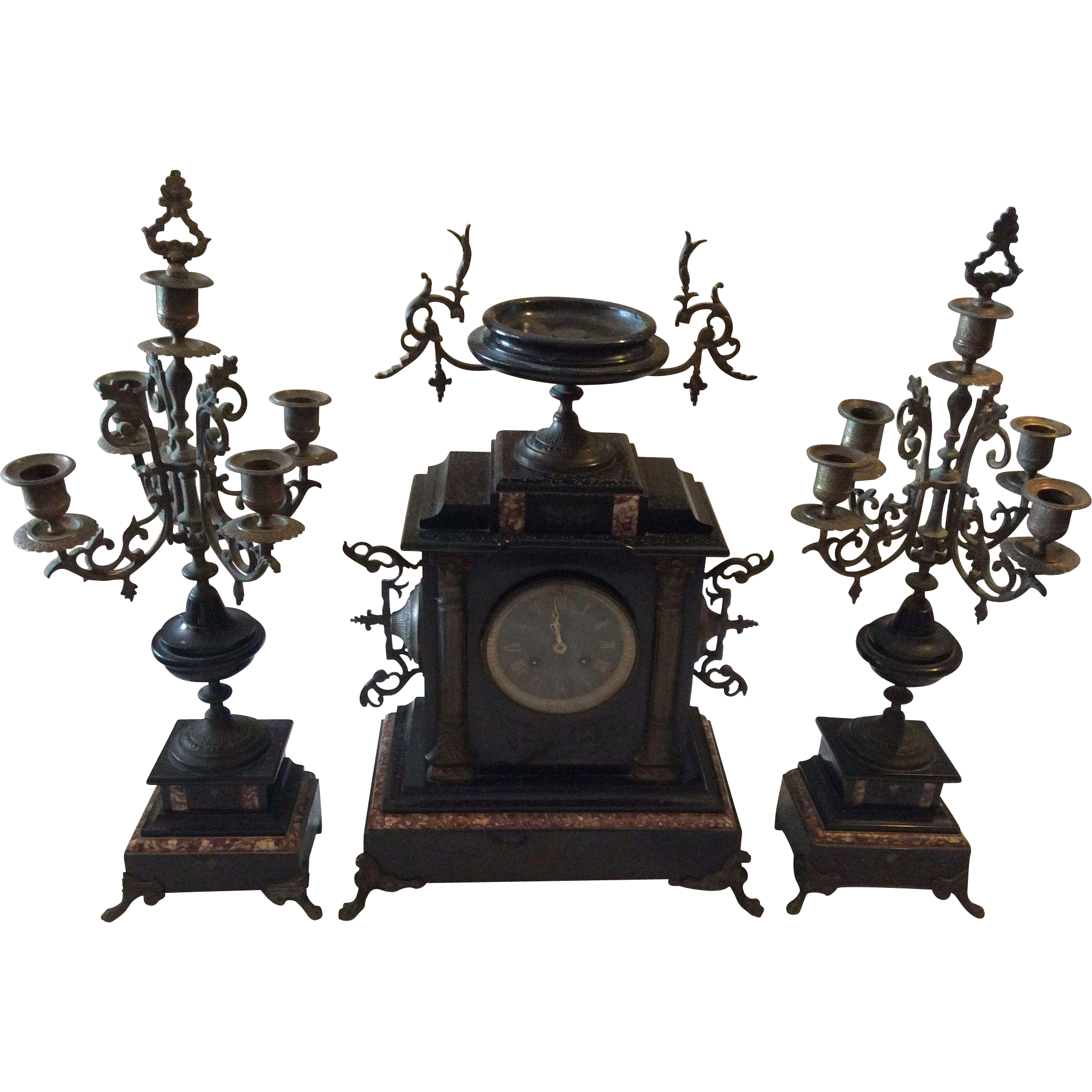 French Black Marble Mantle Clock With Candelabras Offered By Luxury French  Collection On Ruby Lane