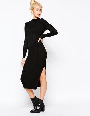 Monki Ribbed Midi Dress with Side Splits