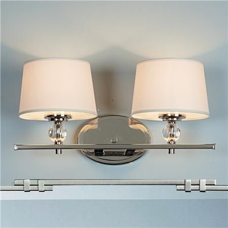 Crystal accent polished nickel bath light 2 light pinterest polished nickel accented with crystal creates a sophisticated modern piece to update your bathroom update fitted with soft white fabric shades mozeypictures Choice Image