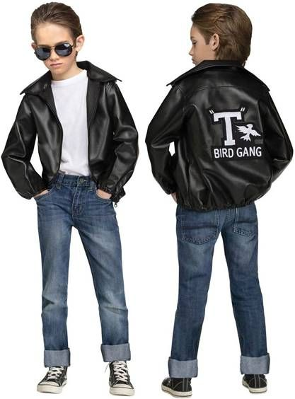 1bcad0f7a 50's T-Bird Gang Costume Faux leather jacket with zipper and logo on back  #fonzie #grease #greasechildcostume #greasecostume #50'schildcostume  #tbirds ...