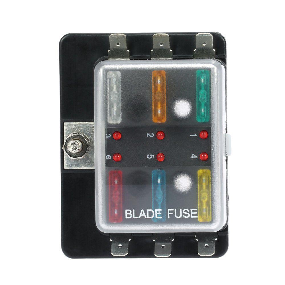 kkmoon dc12v 6 way blade fuse box holder with led warning light kit for car boat marine trike [ 1000 x 1000 Pixel ]