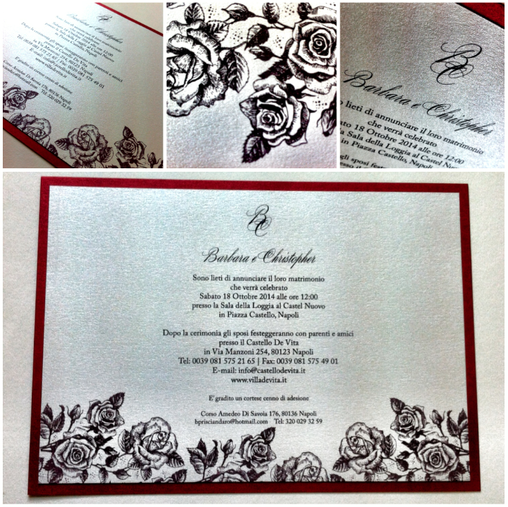 Romantic italian wedding invitation for a lovely couple who is