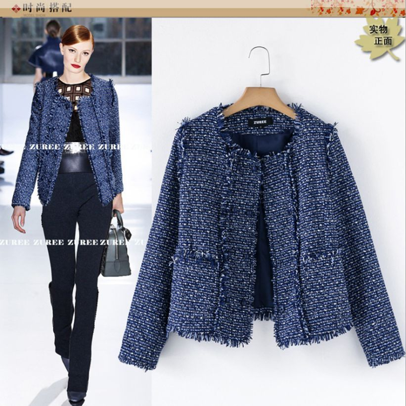 Hot selling fashion casacos femininos elegant blue tweed outwear ...