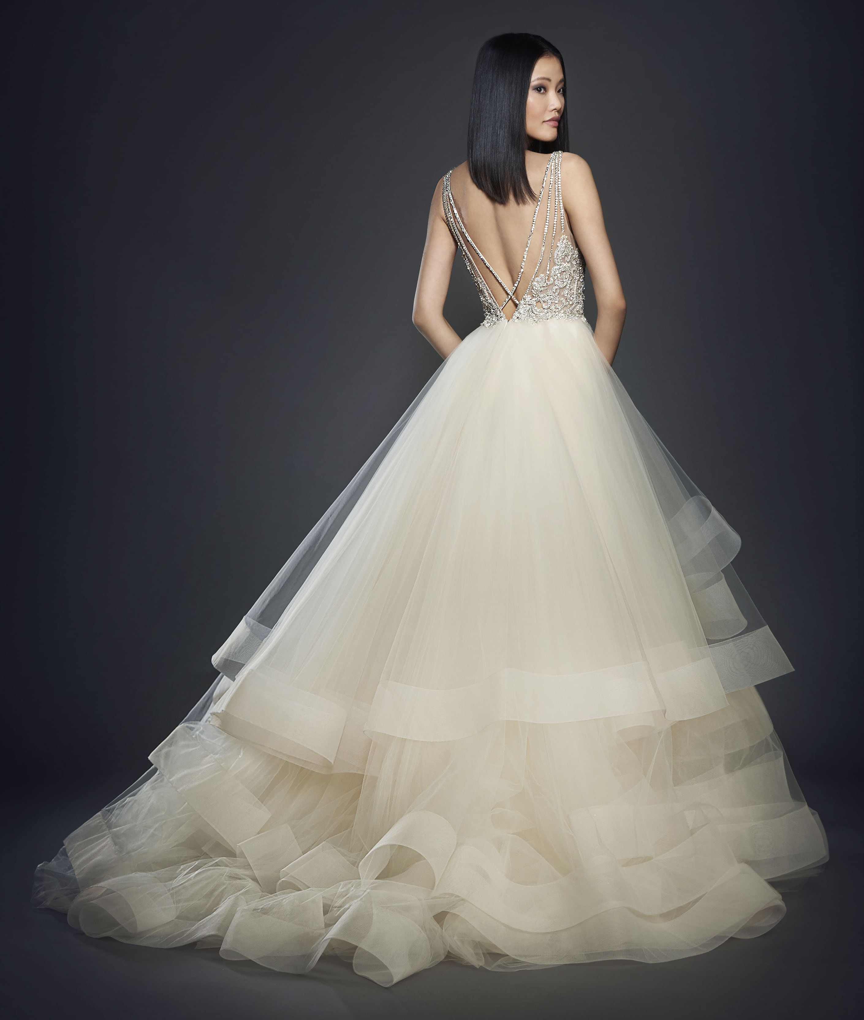 designer lazaro style 3708 available at bliss bridal in wi