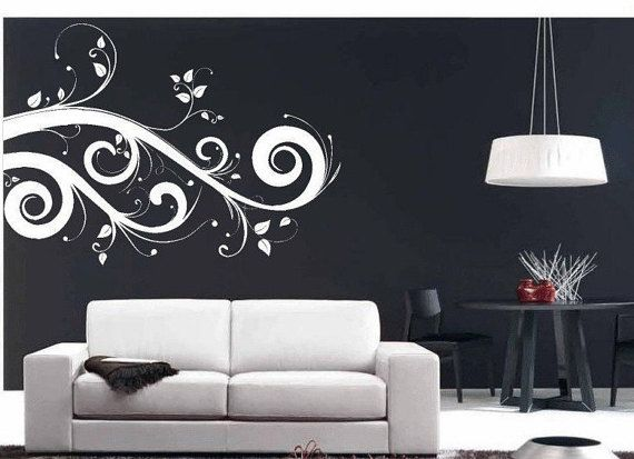 Swirl Wall Art Leaves Embellishment Home Decor Vinyl Wall Decal Graphic Art Window Sticker Living Room Accents Home Decor Wall Decals Living Room Vinyl Wall Decals