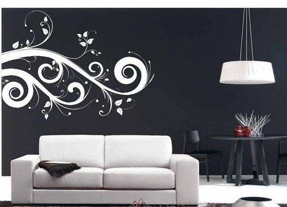 swirl wall art leaves embellishment / home décor / vinyl wall decal