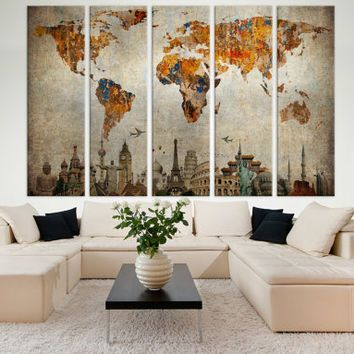 Large World Map Panels Poster Decor Canvas Print Multi Panel Wall Art For Home Office Interior