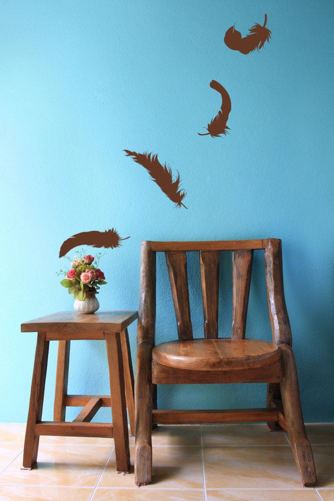 Floating Feathers Lot of 4 - Vinyl Wall Art Decal. $18.00, via Etsy ...