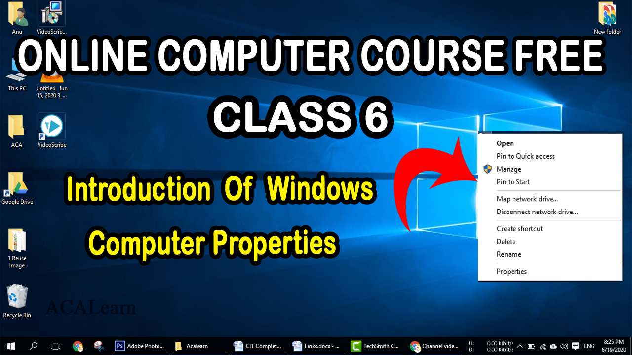 In This Video Introduction Of Windows Computer Properties - Online Computer Course FREE At Home Class 6  #acaleanr #windows #onlineclass