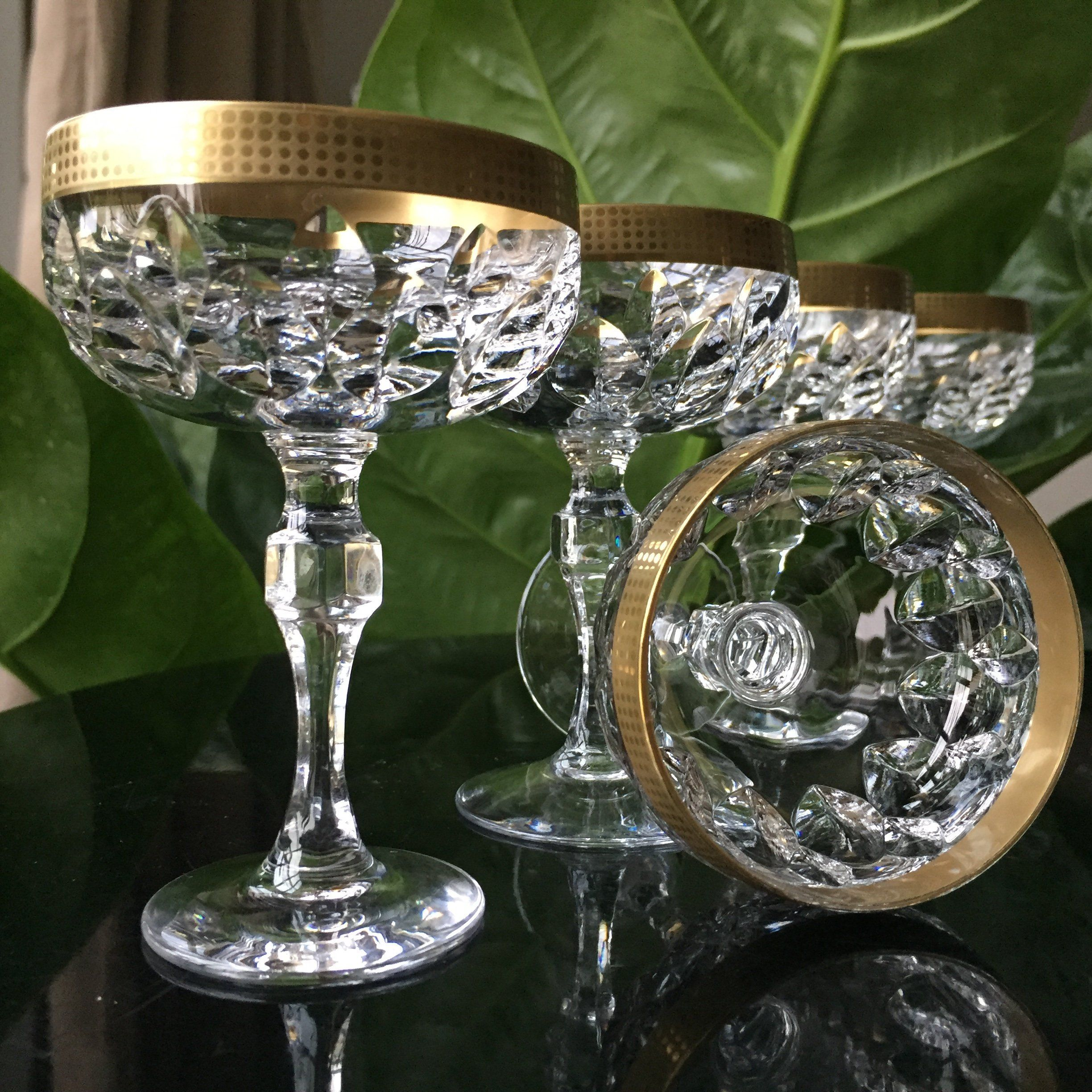 6x Crystal Aperitif Glasses Cordial Coupes 24k Gold Trim Etsy Aperitif Glasses Crystals Crystal Glassware