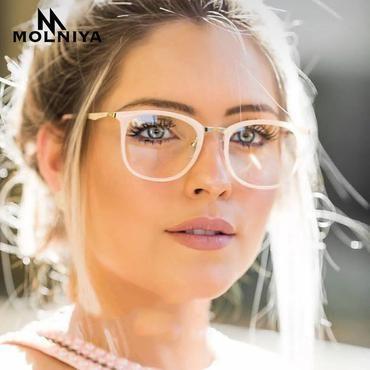 20146abf5e MOLNIYA 2018 Fashion Women Glasses Frame Men Eyeglasses Optical Frame  Vintage Super light Round Clear Lens Glasses