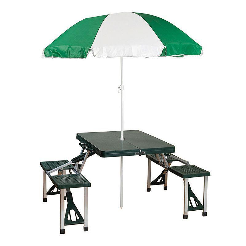 Stansport Portable Picnic Table With Umbrella Green Portable Picnic Table Outdoor Picnic Tables Table Umbrella