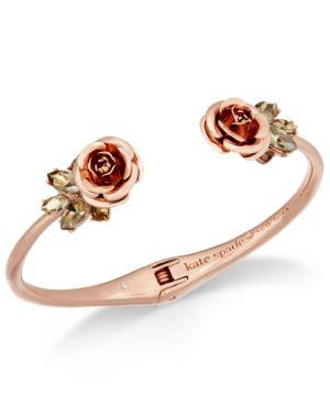 963bdde9c451d kate spade new york Rose Gold-Tone Crystal Flower Hinged Cuff ...