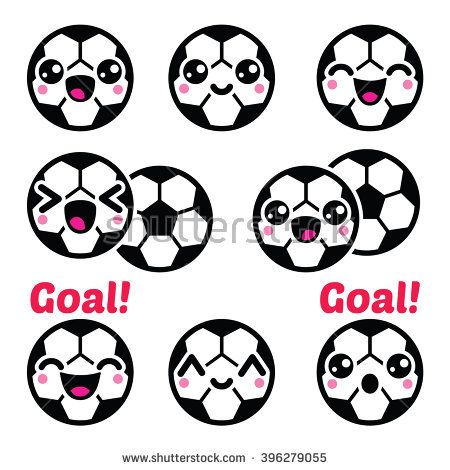 Kawaii Soccer Ball Football Icons Set By Redkoala Dibujos De