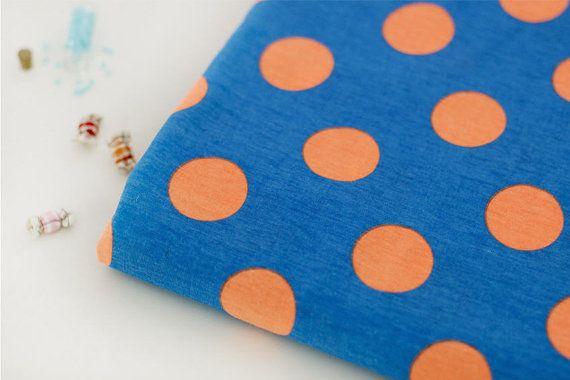 Neon Orange Polkadot on Blue Cotton Jersey Knit per by landofoh, $18.75