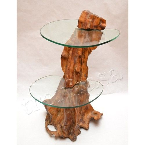 Mesa auxiliar m 02 tronkasa iluminaci n rustica - Lamparas de madera rusticas ...