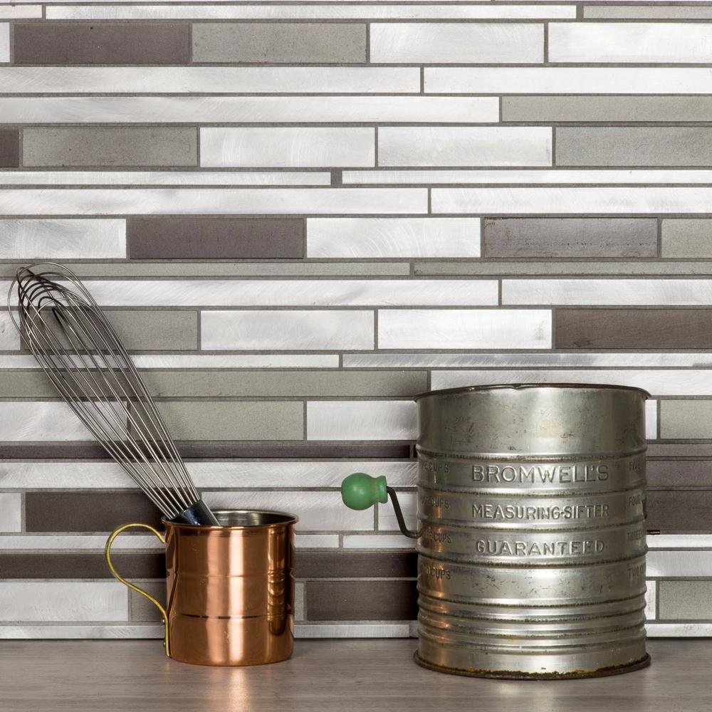 - ABOLOS City Lights SF Gray Wide Linear Mosaic 12 In. X 12 In