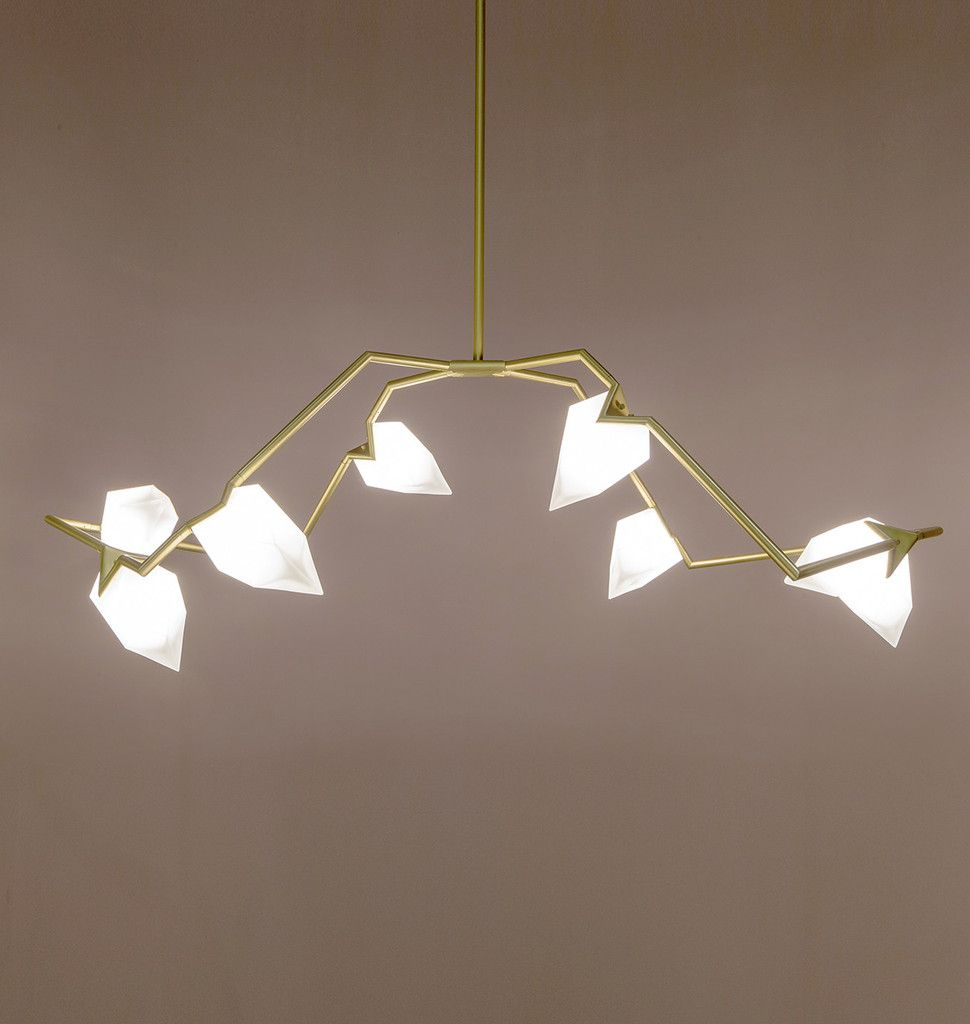 Brushed BrassWhite Salone Del Mobile Milan Lights Up - Used chandelier crystals