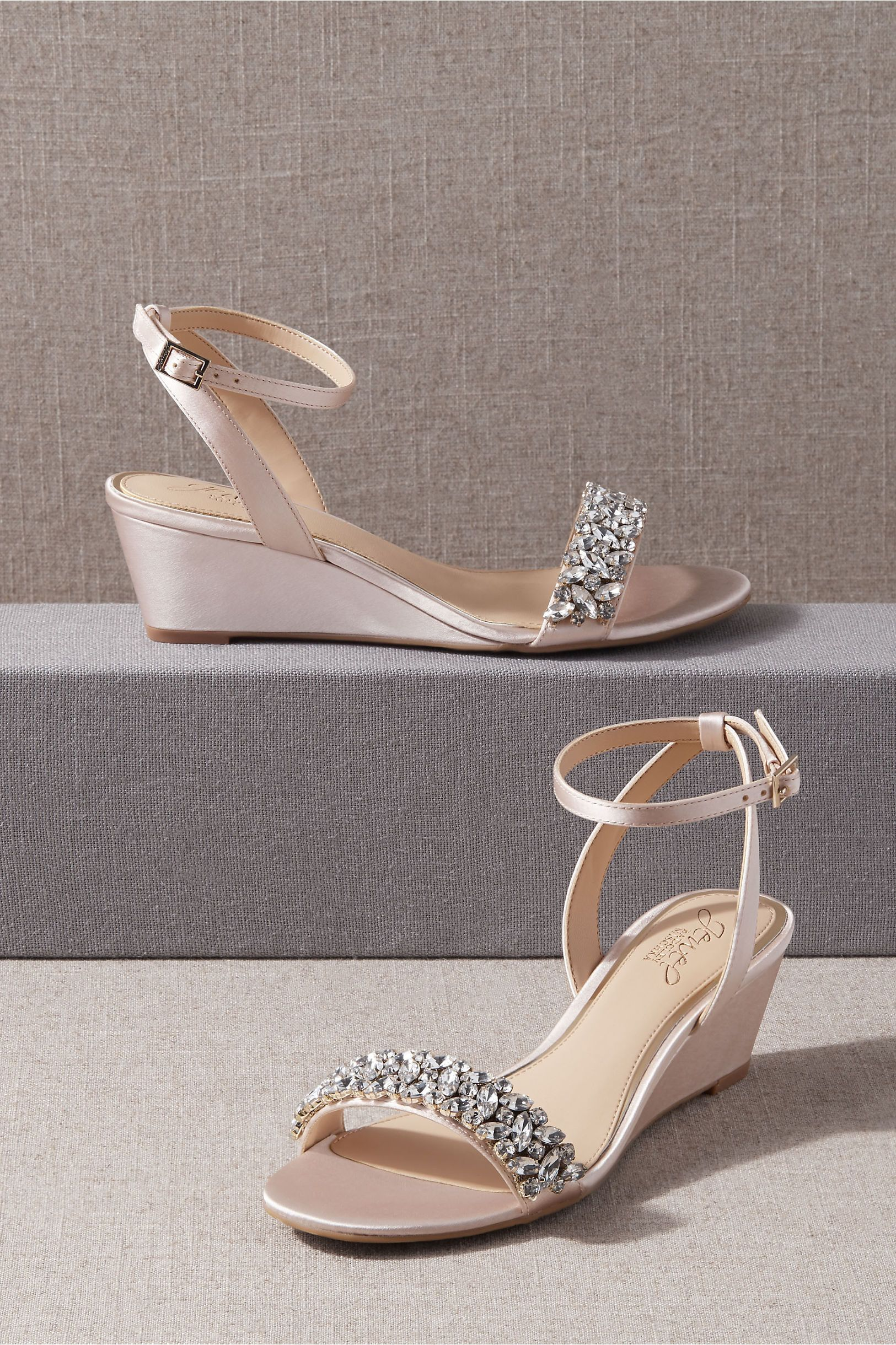 Jewel Badgley Mischka Bertie Wedges In 2021 Wedding Shoes Heels Badgley Mischka Shoes Wedding Wedding Shoes Low Heel