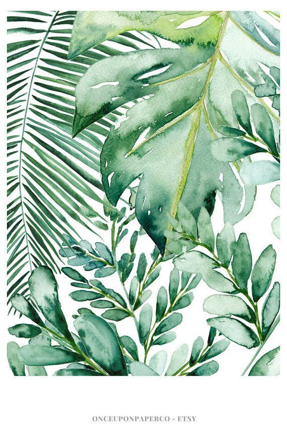 Banana leaf wall art, Banana leaf decor, Palm leaf art print, Palm ...