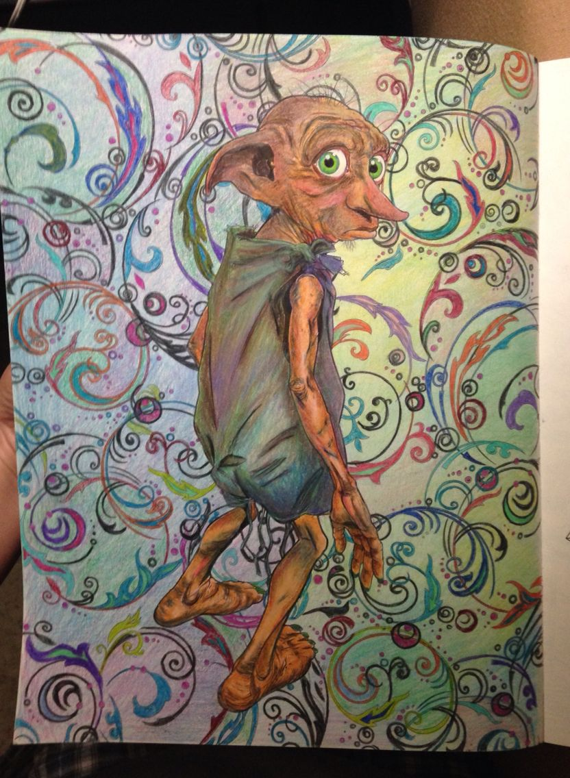 My first picture colored in my Harry Potter coloring book, Dobby from Harry Potter. Harry Potter Adult Coloring Book, house elf