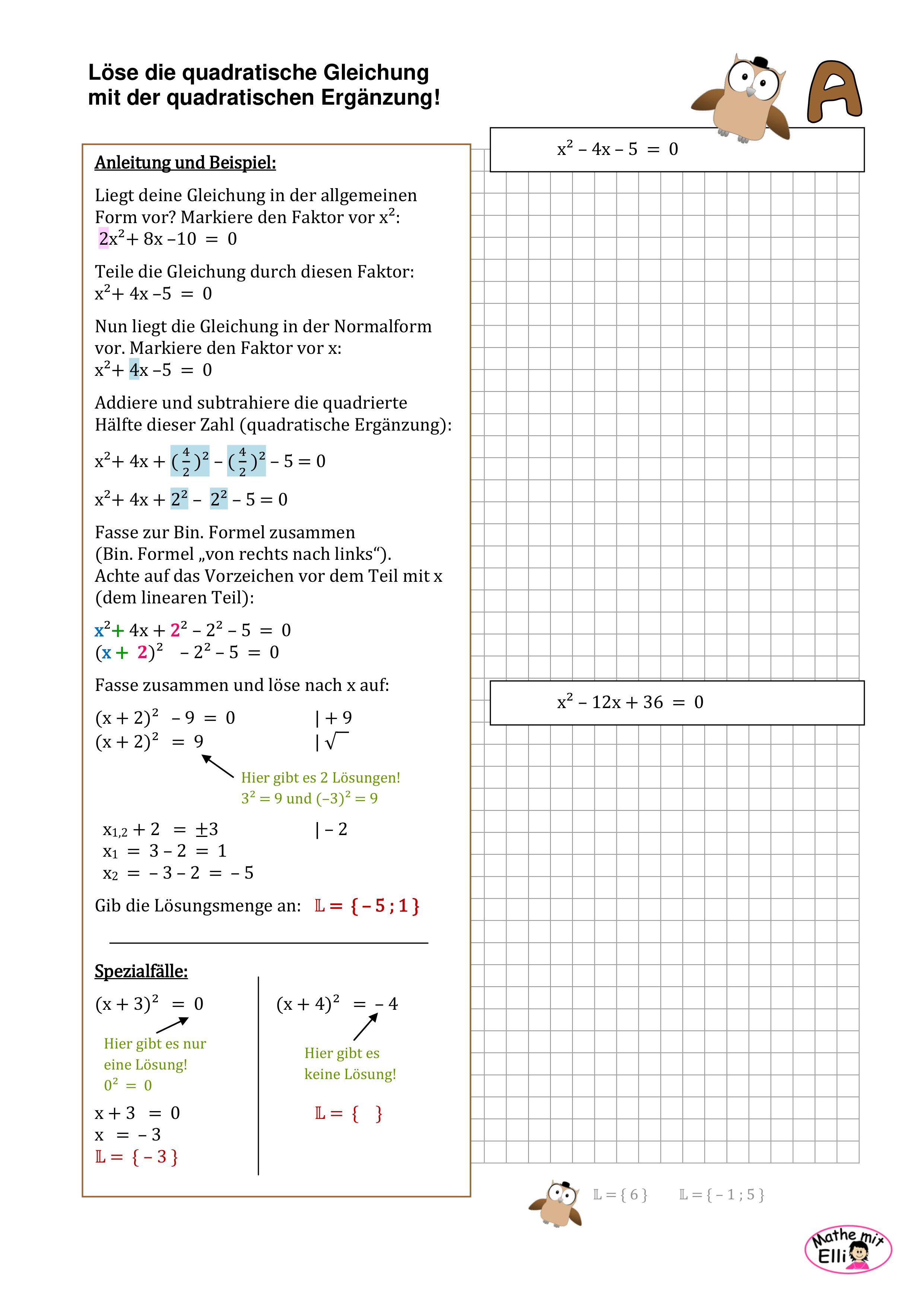 Quadratische Gleichungen Mit Quadratischer Erganzung Losen Unterrichtsmaterial Im Fach Mathematik In 2020 Gleichungen Mathe Formeln Mathematik