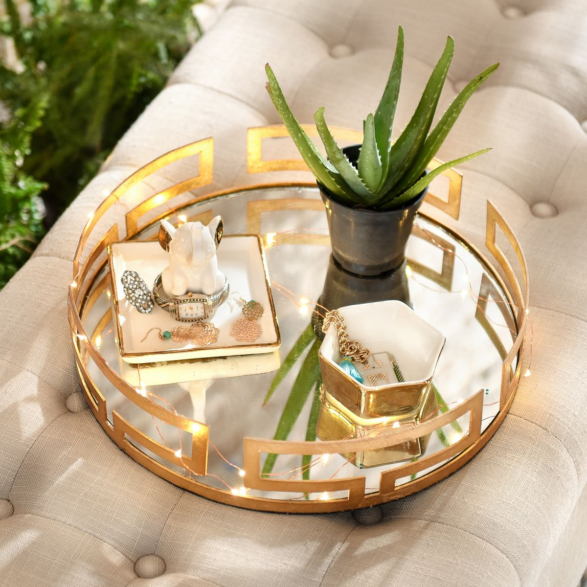 Cleo Gold Mirrored Vanity Tray Gold Tray Decor Glass Tray Decor Mirror Tray Decor