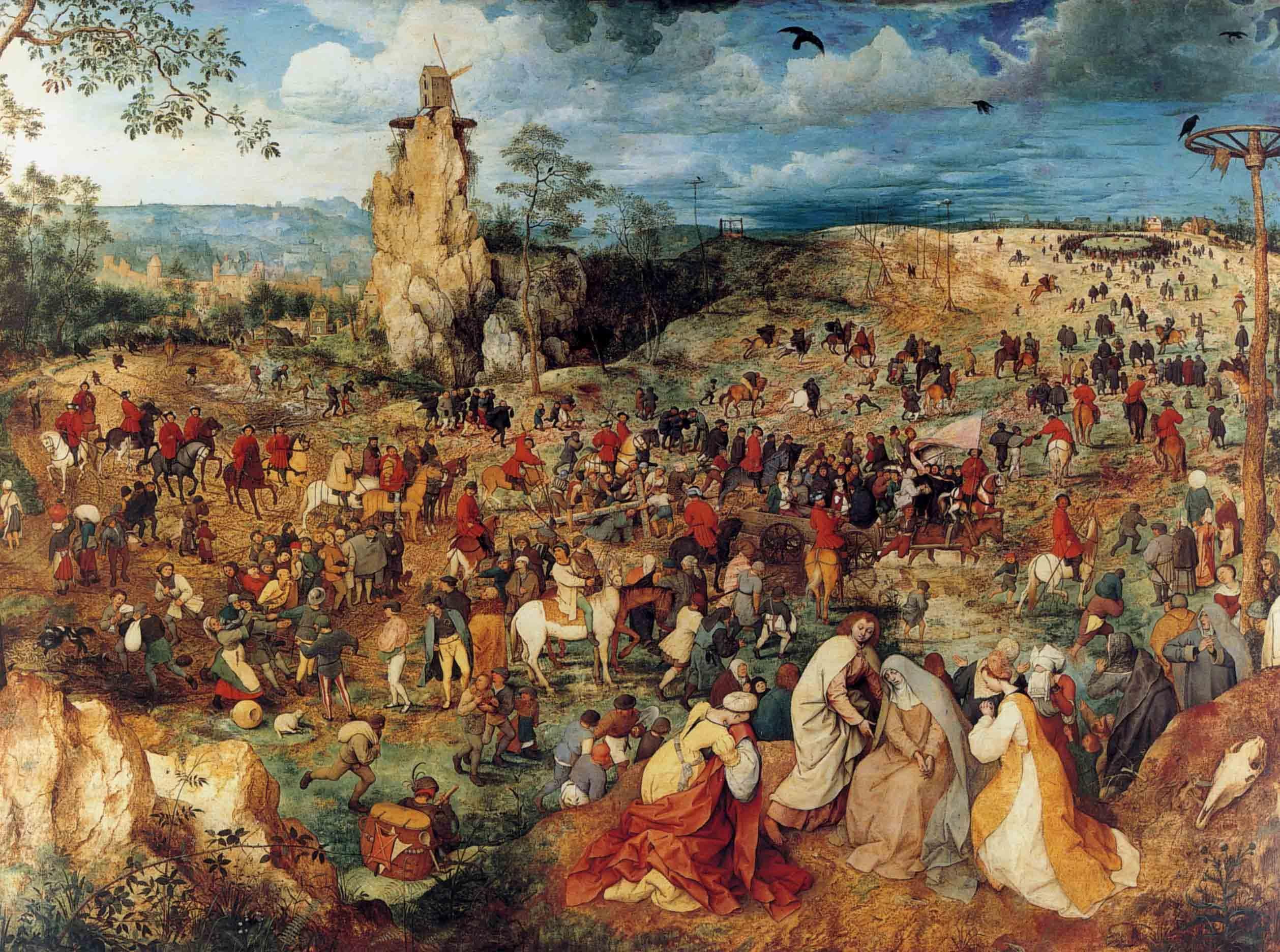 1564 Pieter Bruegel The Elder The Procession To Calvary On Wood 124x170cm Jpg 2 517 1 872 Pixeles Brueghel L Ancien Peinture Celebre Peinture Renaissance