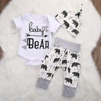 Wish | Newborn Infant Baby Boy Girl Summer Short Sleeve Romper+Bear Pants+Hat Outfits Set