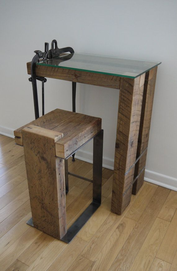 Reclaimed Wood And Gl Computer Desk Barn Small Work Laptop Table