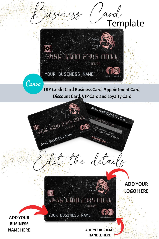 Diy Rose Gold Black Marble Credit Card Business Cards Canva Etsy Business Card Inspiration Credit Card Design Beauty Business Cards