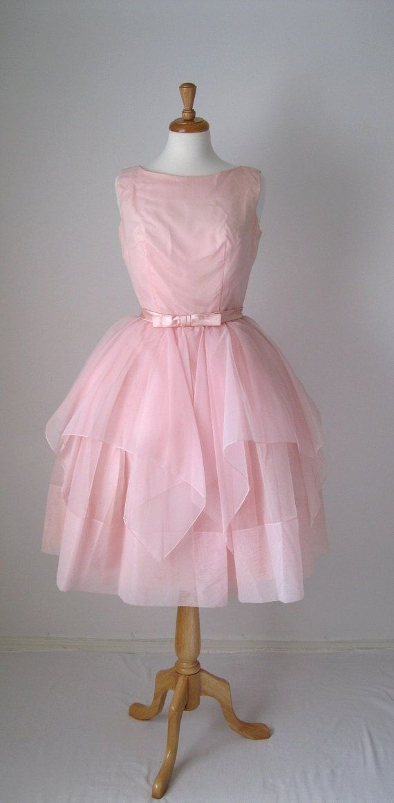 1950s Dress. Pink . Mad Men Fashion. Cocktail Dress.Party . Spring ...