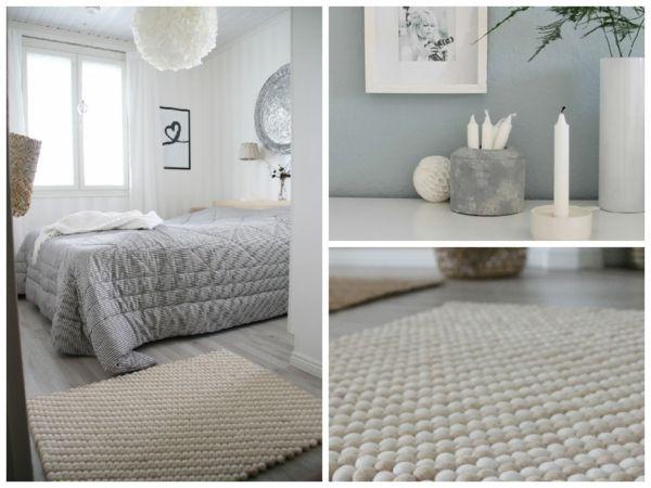 Weißer filzkugel teppich im skandinavischen stil skandinavisches design