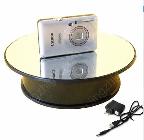 Mirror Top Battery Power of Rotate Display Stand Electric Turntable Show Holder