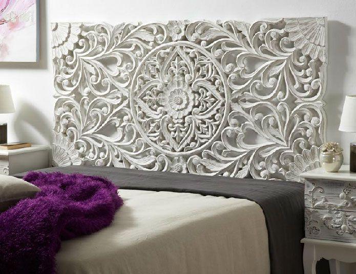 Cabecero panel tallado blanco decape decoracion pinterest madera cabeceras de madera y - Paneles decorativos madera tallada ...