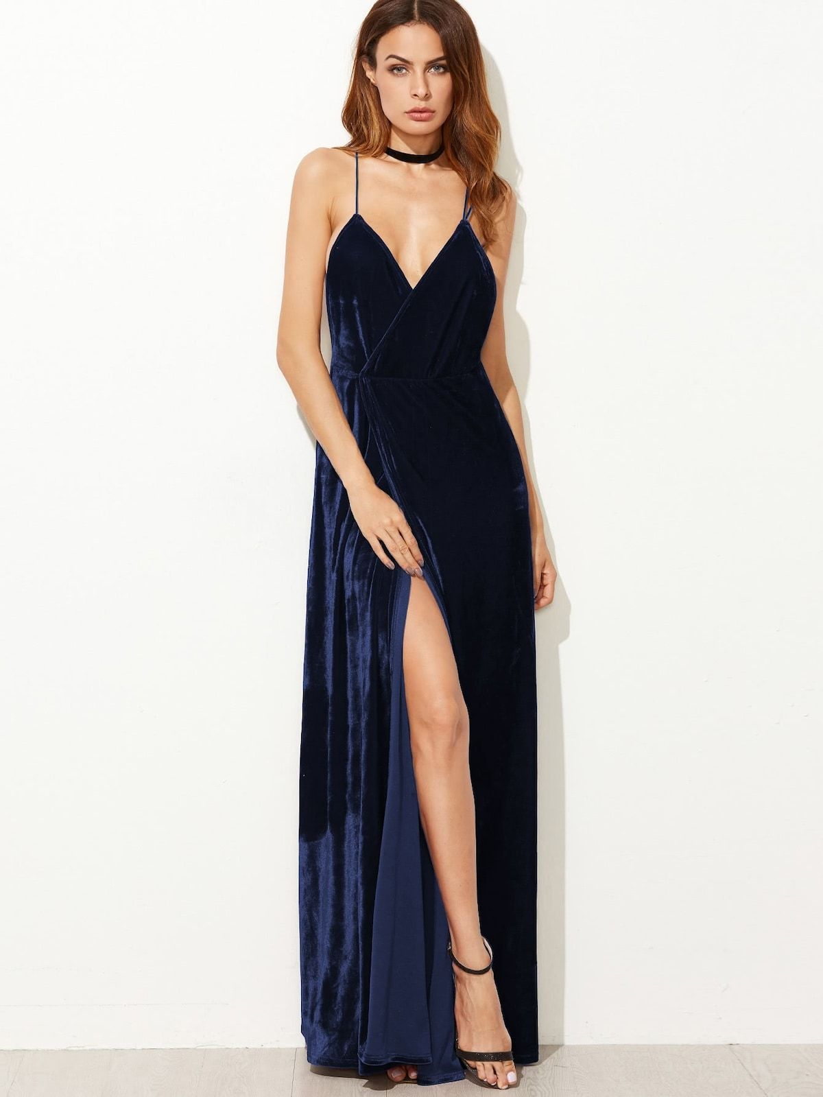 df9c7d5fa737 Strappy Backless Wrap Velvet Dress
