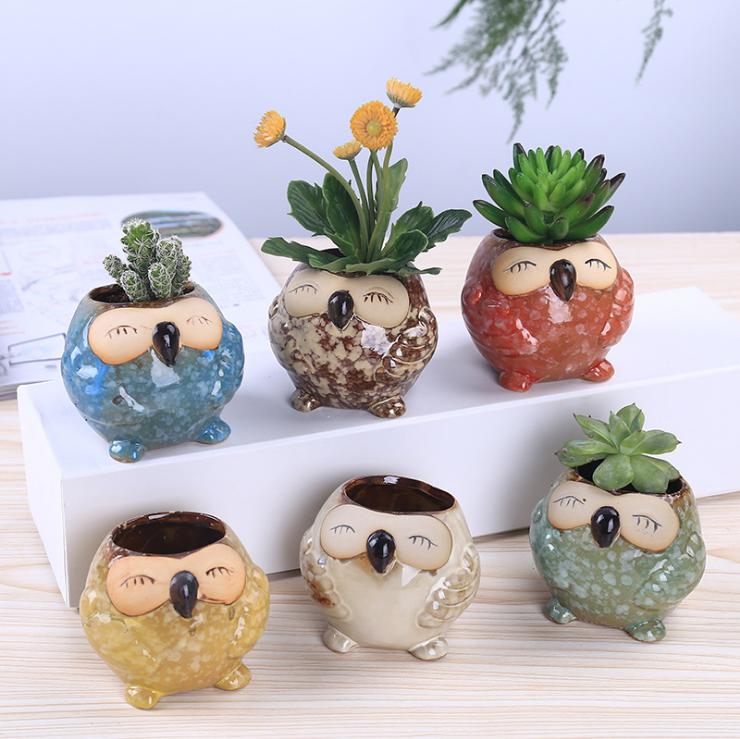 Owl Ceramic Pot For Succulent Plants Or Decoration Handmade Flower Pots Ceramic Flower Pots Ceramic Succulent Pots