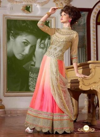 Floral Beige And Pink Shaded Heavy Work Georgette Net Salwar Suit http://www.angelnx.com/