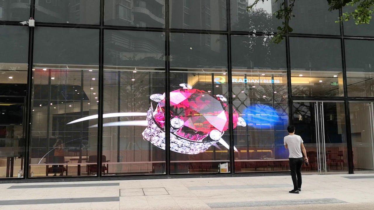 glass led curtain wall transparent led
